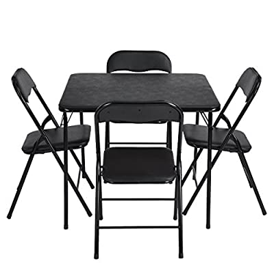N.B.F Fern - Folding table and chairs 5 set Dining/ Outdoor Picnic set/ Game table/ Breakfast set - All Black - low-cost UK light store.