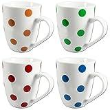 COM-FOUR® 4x Kaffeebecher Dots farbig, 300ml, aus Porzellan, Kaffeetasse, Kaffeepott, rot, blau, gelb, grün (4er Punkte)