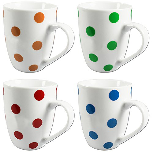 COM-FOUR Lot de 4 mugs en porcelaine avec motif à pois 300 ml Rouge/bleu/jaune/vert