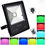 (IP66 Waterproof) 50W RGB LED Outdoor Flood Light,Remote Control, Dimmable, Colour Changing LED