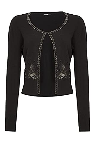 Roman Originals Women's Black Embellished Trim Crop Shrug Cardigan Sizes 10-20 - 14