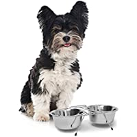 Relaxdays Comedero Doble para Perros y Gatos Elevado, Acero Inoxidable, Plateado, 0.47 L