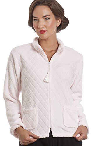 - 41I5xakcdyL - Camille Womens Ladies Light Pink Supersoft Zip Up Bed Jacket