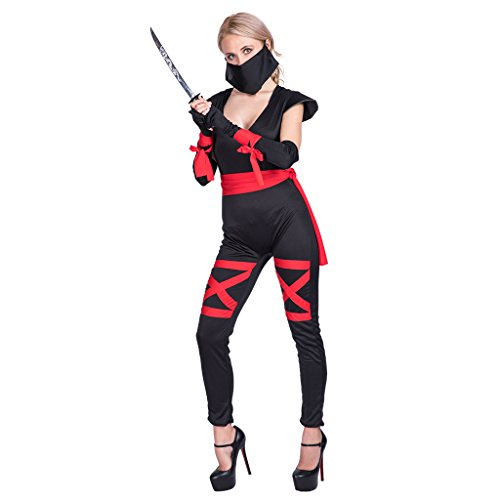 (EraSpooky Damen Sexy Ninja Kostüm Kriegerin Schwarz V-Ausschnitt Karnevalskostüm Overall)