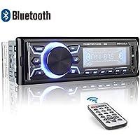 Autoradio Bluetooth, 1 Din Radio de Voiture, 4x52W Poste Radio 7 Couleurs FM Stéréo Radio USB/SD/AUX/EQ/Lecteur MP3 Autoradio