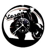 Wanduhr Vinyl Schallplatte LP 33U Geschenk Vintage Handmade Instant Karma–Motorrad Vespa