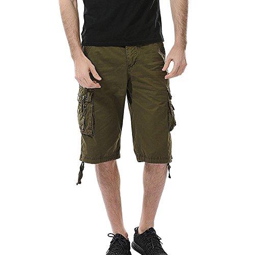 Aiserkly Herren Cargo Shorts Kurze Pure Color Arbeitshose mit Taschen Outdoorhose Freizeithose (Softshell-cargo-hosen)