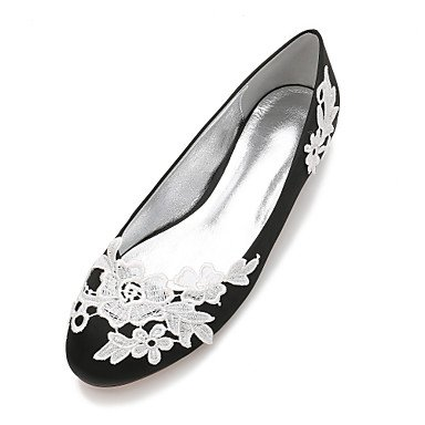 Rtry Chaussures De Mariage Pour Femmes Satin Comfort Spring Summer Wedding & Amp; Robe De Soirée Bowknot Strass Heelivory Plat Champagne Bleu Rubis Us11 / Eu43 / Uk9 / Cn44
