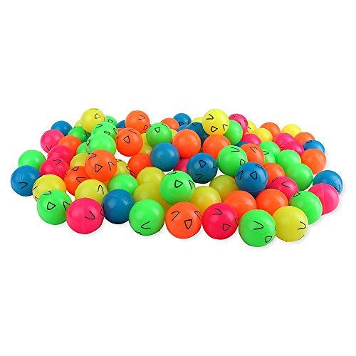 Schramm® 100 Stück Flummis Smiley 27mm Flummi Springball Hüpfball Mitgebsel Tombola Kindergeburtstag 100er Pack