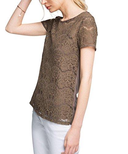 Esprit Mit Spitze, T-Shirt Femme Braun (TAUPE 240)