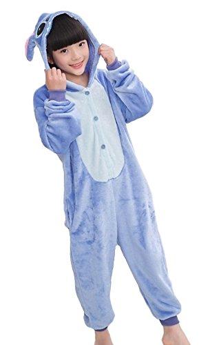 Kigurumi pigiami animali da bimbi bambini tuta costume carnevale halloween festa cosplay unisex-xxs/2-3years-stitch blu