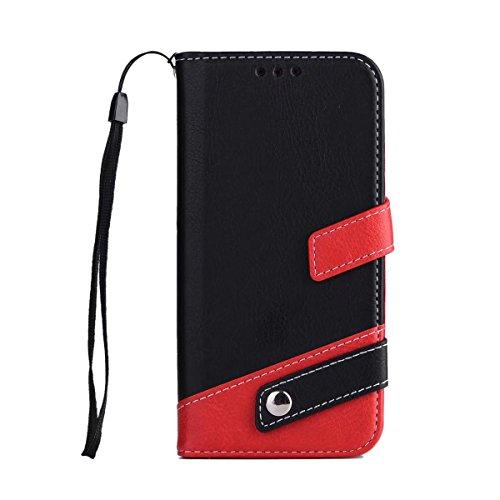 Bookstyle Horizontale Flip Stand Case Litchi Texture Dual Farbe genäht PU Leder Tasche mit Lanyard & Niet Button für Samsung Galaxy A3 2017 ( Color : Blue ) Black