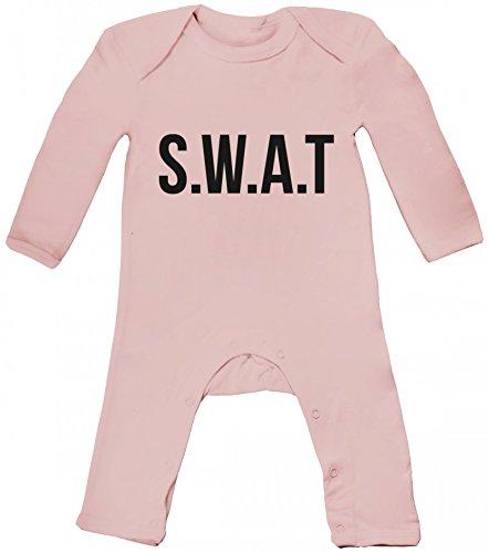 Karneval Verkleidung Baby Strampler Langarm Schlafanzug Jungen Mädchen SWAT Kostüm 1, Größe: 12-18 Monate,Powder Pink (Swat Halloween Kostüm Mädchen)