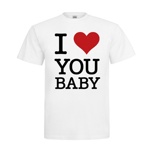 MDMA T-Shirt I Love You Baby mdma-t00160-1 Textil white / Motiv schwarz Gr. (Schule Kostüme Nerd)