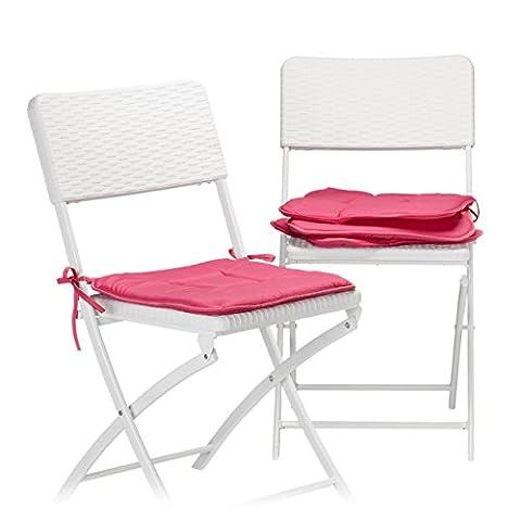 Relaxdays Galette de chaise avec boucles coussin de chaise lot de 4 coussins lavables 40 x 40 cm jardin intérieur extérieur, rouge