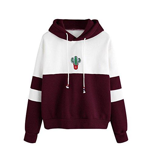 (Hoodie Damen Langarm Kaktus Print Hoodie Sweatshirt Sweat Tops Bluse Teenage Mädchen Frauen Pullover MYMYG Einfach Basic Coat Outwear Streetwear (Wein,EU:40/CN-XL))