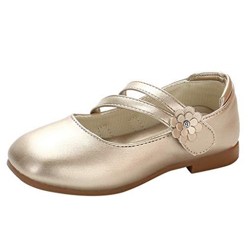 Alwayswin Baby Mädchen Leder Einzelne Schuhe Blume Princess Party Sandalen Kinder Geschlossene Flache Single Schuhe Süß Klettverschluss Sandalen Slip-On Freizeitschuhe