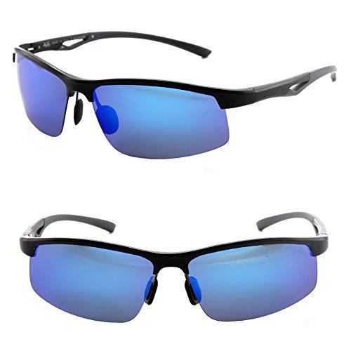 Männer Frauen Stil polarisierte Sonnenbrille Metallrahmen Sportbrillen (Gray, Blau)