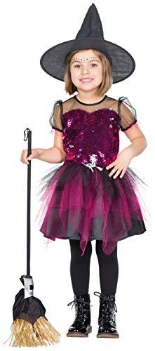 Rubies 12339 - Glitzer Hexe - Mädchen Halloween Kostüm Gr. 104 - 140 (Rubies Glitzer Kostüme)