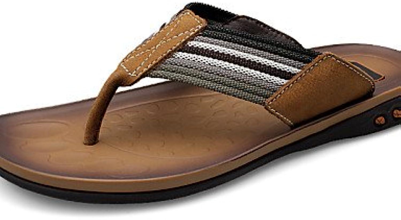 NTX/hombres de zapatos Casual Piel Pantuflas Marrón/Caqui, hombre, brown-us10 / eu43 / uk9 / cn44, talla única  -