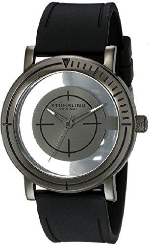 Stuhrling Original 879.03 - Montre Cristal de roche - Affichage Analogique Bracelet Caoutchouc Noir et Cadran Noir - Hommes