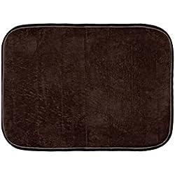 "Warmland Anti Skid Solid Polyester Door Mat-20""x 30"", Brown"
