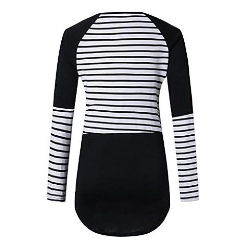 Yannerr Women Long Sleeve Striped Patchwork Blouse Casual Shirt Tops T-shirt (XL)
