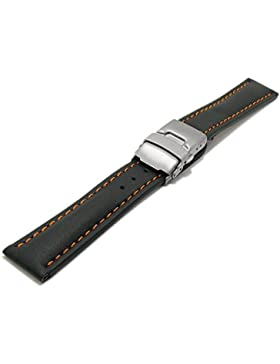 Meyhofer Uhrenarmband Milas 18mm schwarz Leder glatt orangefarbene Naht Titan-Faltschließe MyHekslb88/18mm/schwarz...