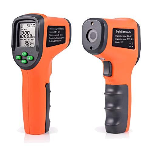 Ehdis 2-in-1 Digitaler Multi-Funktions-Drehzahlmesser mit Thermometer Nicht-Kontakt Tach-Drehzahlmesser Batterien ausgeschlossen -