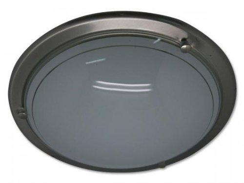 Deckenleuchte aus gebürstetem Nickel Maße ca. Ø 40 cm, Silber/Weiß (Gebürstetem Nickel Leuchten)