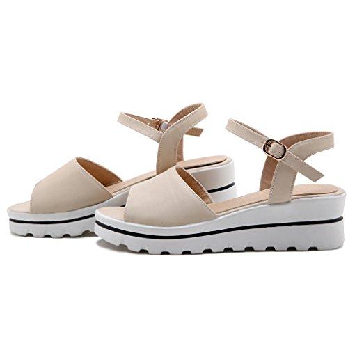 Oaleen Sandales Ouverte Femme Talon Compensé Bride Cheville Chaussures Eté Plateforme beige moderne