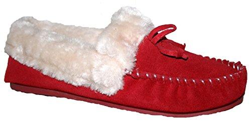 Donna in Pelle Scamosciata Mocassino Pantofola con Front Bow Tie, rosso (Red), 38 EU