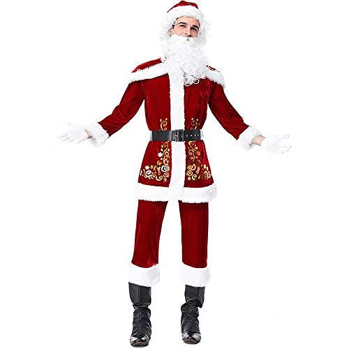 YXRL Mens Santa Claus Weihnachtsmann Cosplay Xmas Kostüm Deluxe Kostüm - Santa Claus Tanz Kostüm
