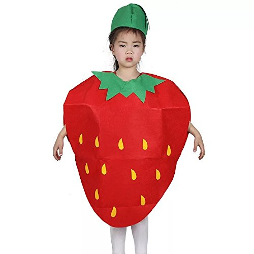Erdbeere Kinder Kostüm - Matissa Früchte Gemüse und Natur Kostüme Anzüge Outfits Kostümfest für Jungen und Mädchen (Erdbeere)
