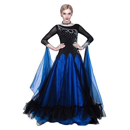 Kostüm Standardtanz Damen - MDWDQ Moderner Tanzrock Strass Walzer Standardtanz Kleider Große Schaukel Damen Moderner Tanzrock Wettbewerb Kostüm,Blau,XXL