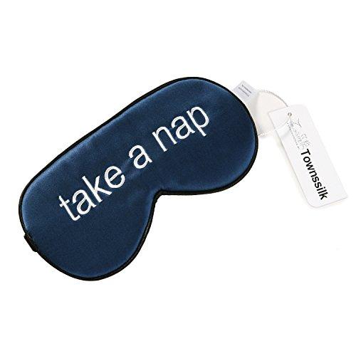 100% Seiden-Schlafmaske mit verstellbaren Bändern, bequeme und super weiche Augenmaske ultimative Schlafhilfe, Augenbinde Navy Blau Muster3 -