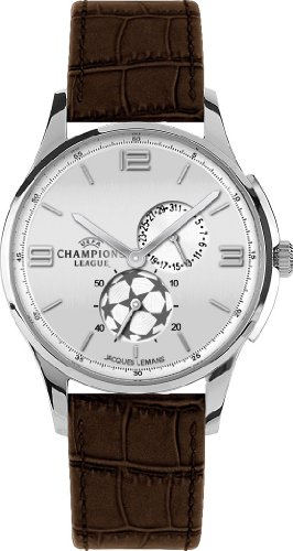 Jacques Lemans UEFA Champions League U-33B Gents Brown Leather Strap Soccer Watch