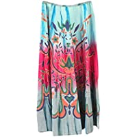 Mogul Interior Retro Skirts Floral Printed Hippie Gypsy Multi Long Skirt