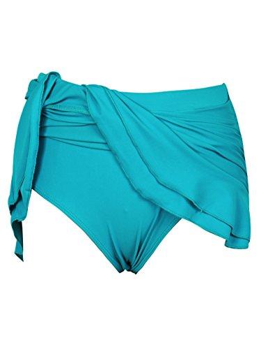 Rocorose Damen Gerafften Pin up Bikini Baderock mit Slip Türkis