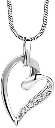 Miore Damen-Halskette Herz 925 Sterling Silber 8 Zirkonia farblos 45 cm