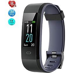 Virtoba Montre Connectée, Montre Podomètre Cardiofréquencemètre Bracelet Connecté Tracker d'Activité Fitness avec 14 Mode de Sport Smartwatch Etanche IP68 pour Android iOS Samsung Xiaomi Huawei(Gris)