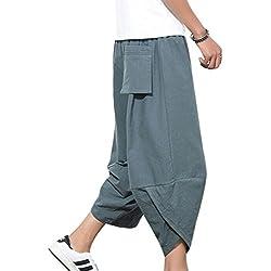 Juleya Pantalones Hombre Verano Pantalones de Playa Suaves Transpirables Pantalones de Harem Sueltos con Cordón Pantalones Longitud 3/4 Pantalones Casuales 8 Colores M-5XL