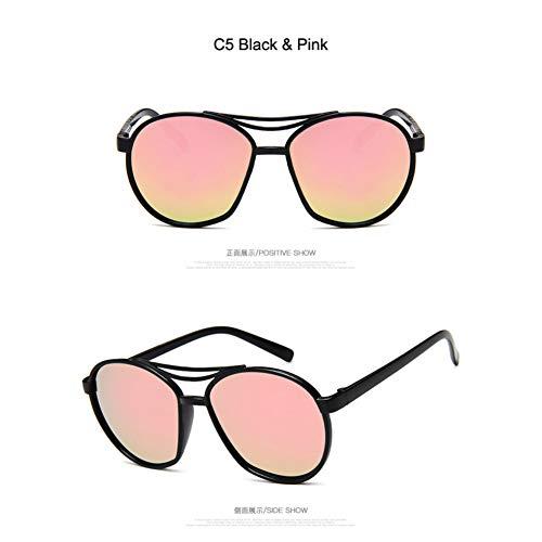 Taiyangcheng Runde Rahmen Sonnenbrille Frauen Anti Reflektierende Blau Rosa Lila Objektiv Spiegel Sonnenbrille Männlich Weiblich,C5 Schwarz Pink