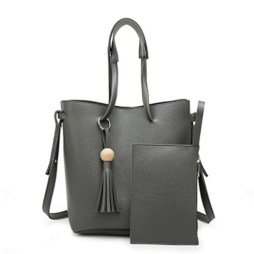 Damen Handtaschen Mädchen Umhängetaschen Quasten Diagonal Leder Eimer Typ Persönlichkeit Schön Mode Europa Und Den Vereinigten Staaten Grey