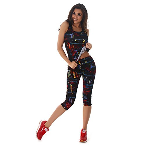 Damen Sportleggings in Capri-Form (3/4) und Sporttop als Fitness-Set | 2teiler Sportshirt und Sporthose Trainingsanzug Sport-Outfit Lauf-Outfit (L bis XL, Rot 59)