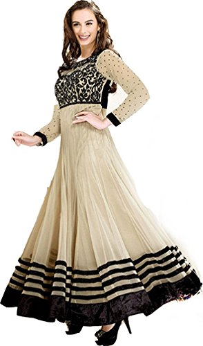 Evelyn Sharma Latest Designer Cream Floor Length Anarkali Suit..