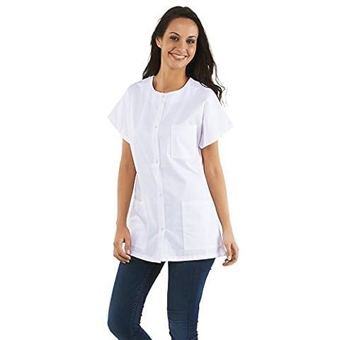Tunique médicale Femme, col rond, boutons pression (infirmiere pharmicie hopital medecin...) (Taille 4 - XL - 50/52)