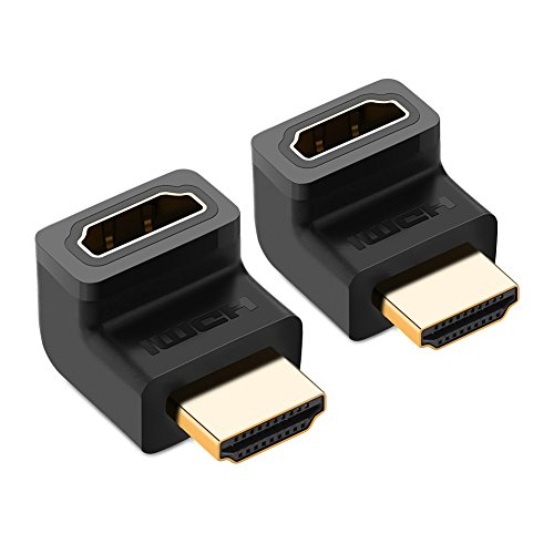 UGREEN HDMI Adapter HDMI Adapter 270°Grad 2Stücks Winkel High Speed HDMI Stecker auf HDMI Buchse Adapter 4K mit vergoldete Kontakte Schwarz High Speed Hdmi Tm-kabel