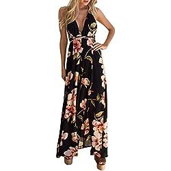 Alaso Femme Robe Floral Halter Neck V Profond Sexy Dos Nu Asymétrique Ourlet Avant Fendue Maxi Dress Plage de Robe Longue