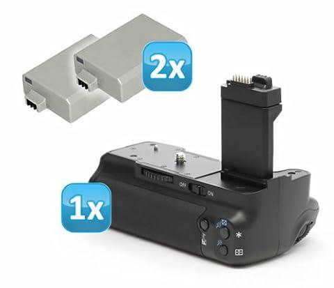 Minadax poignée d'alimentation + &2 batteries pour canon eOS 450D,
